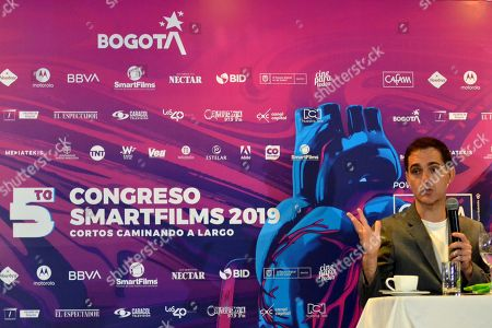 Stock Picture of The Spanish actor Pedro Alonso, interpreter of the character Berlin in the series 'La Casa de Papel' speaks at a press conference at the 2019 Smartfilms Festival, in Bogota, Colombia, 06 September 2019.