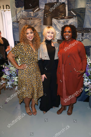 Cece Olisa, right, Chastity Garner Valentine, left, co-founders of theCURVYcon, and actress Jenn Lyon pose for a photo a the 5th annual theCURVYcon powered by Dia&Co on in New York