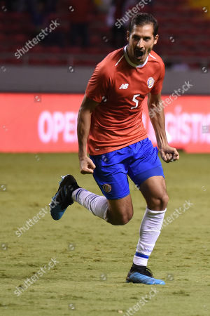 Costa Rica's Celso Borges celebrates after scoring against Uruguay during a friendly soccer match at the National Stadium in San Jose, Costa Rica