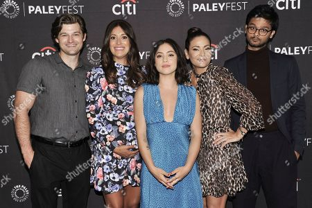 """Kevin Bingley, Angelique Cabral, Rosa Salazar, Constance Marie and Siddharth Dhananjay. Kevin Bingley, from left, Angelique Cabral, Rosa Salazar, Constance Marie and Siddharth Dhananjay attend Amazon's """"Undone"""" screening and panel at the 2019 PaleyFest Fall TV Previews at The Paley Center for Media, in Beverly Hills, Calif"""
