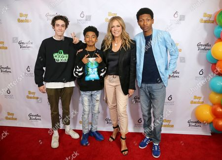 """Diego Velazquez, Miles Brown, Rita Wilson, Skylan Brooks. Members of the cast Diego Velazquez, from left, Miles Brown, Rita Wilson and Skylan Brooks attend the LA Premiere of """"Boy Genius"""" at the Arena Cinelounge, in Los Angeles"""