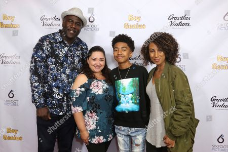 """Stock Photo of Jack Brown, Cyndee Brown, Miles Brown, Kiana Brown. Jack Brown, from left, Cyndee Brown, Miles Brown and Kiana Brown attend the LA Premiere of """"Boy Genius"""" at the Arena Cinelounge, in Los Angeles"""