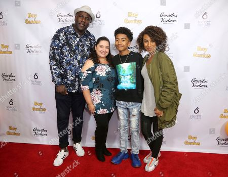"Jack Brown, Cyndee Brown, Miles Brown, Kiana Brown. Jack Brown, from left, Cyndee Brown, Miles Brown and Kiana Brown attend the LA Premiere of ""Boy Genius"" at the Arena Cinelounge, in Los Angeles"