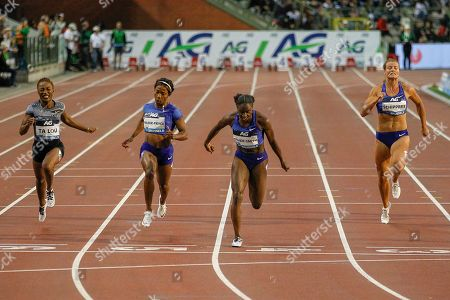 Dina Asher-Smith (Great Britain) winning the Women's 200 metres, Marie-Josee Ta Lou (Ivory Coast), Shelly Fraser-Pryce (USA), Dafne Schippers (Netherlands), during the IAAF Diamond League event at the King Baudouin Stadium, Brussels