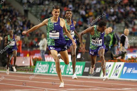 Soufiane El Bakkali (Morocco), Lamecha Girma (Ethiopia), Getnet Wale (Ethiopia), Men's 3000m Steeplechase, during the IAAF Diamond League event at the King Baudouin Stadium, Brussels