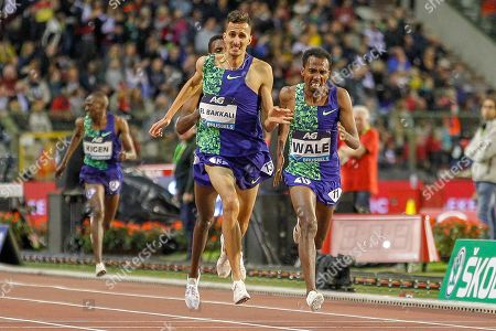 Soufiane El Bakkali (Morocco), Getnet Wale (Ethiopia), Men's 3000m Steeplechase, during the IAAF Diamond League event at the King Baudouin Stadium, Brussels