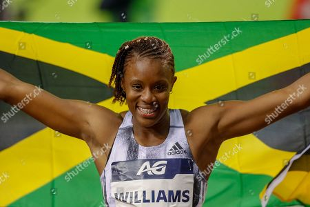 Danielle Williams (Jamaica), winner of the Women's 100m Hurdles during the IAAF Diamond League event at the King Baudouin Stadium, Brussels