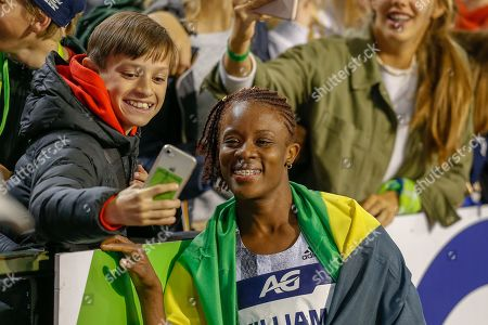 Danielle Williams (Jamaica), winner of the Women's 100m Hurdles taking a selfie with a fan during the IAAF Diamond League event at the King Baudouin Stadium, Brussels