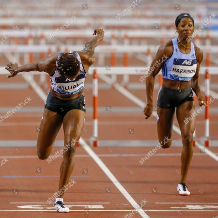Danielle Williams (Jamaica) beating Kendra Harrison (USA) in the Women's 100m Hurdles during the IAAF Diamond League event at the King Baudouin Stadium, Brussels
