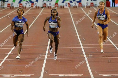 Dina Asher-Smith (Great Britain) winning the Women's 200 metres, Shelly Fraser-Pryce (USA), Dafne Schippers (Netherlands), during the IAAF Diamond League event at the King Baudouin Stadium, Brussels