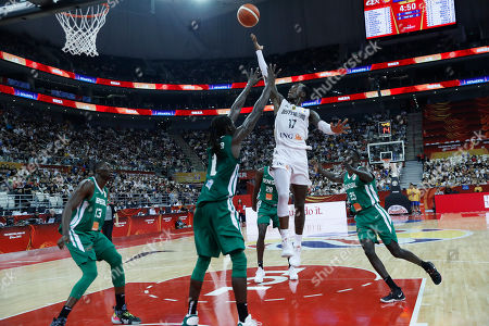Stock Photo of Dennis Schroder of Germany (2-R) in action  during the FIBA Basketball World Cup 2019 classification ?round? match between Germany and Senegal in Shanghai, China, 07 September 2019.