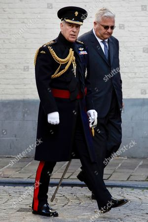 Britain's Prince Andrew, the Duke of York, and Belgian Prince Laurent, right, attend a memorial ceremony to mark the 75th anniversary of the liberation from German occupation in Bruges, Belgium, . During the War World II the western allies troops liberated Belgium between September 1944 and February 1945