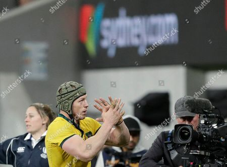 Australia's David Pocock claps to fans as he leaves the field during their rugby union test match against Samoa in Sydney