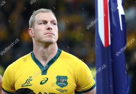 Wallabies captain David Pocock stands on the field before the start of the Australian Wallabies and Manu Samoa International rugby match at Bankwest Stadium in Sydney, Australia, 07 September 2019.