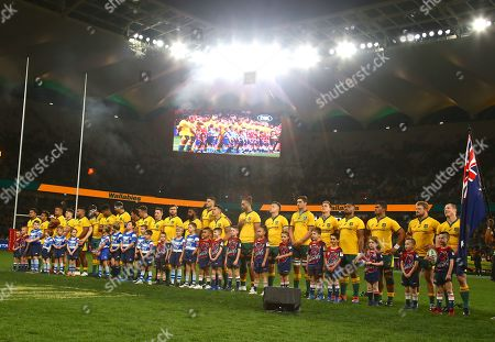 Wallabies captain David Pocock (R) reacts as he stands with his teammates before the start of the Australian Wallabies and Manu Samoa International rugby match at Bankwest Stadium in Sydney, Australia, 07 September 2019.