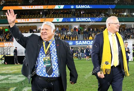 Australian Prime Minister Scott Morrison (R) and Prime Minister of Samoa Tuilaepa Aiono Sailele Malielegaoi walk onto the field after the Australian Wallabies and Manu Samoa International rugby match at Bankwest Stadium in Sydney, Australia, 07 September 2019.