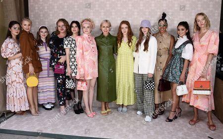 Danielle Macdonald, Emma Roberts, Sadie Sink, Julia Garner, Katherine Schwarzenegger, Julia Schlaepfer and Emma Nelson with Kate Spade