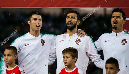 Cristiano Ronaldo of Portugal, Goalkeeper Rui Patricio of Portugal, Jose Fonte of Portugal ready for the start