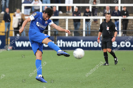 Jonathan Smith of Chesterfield takes a shot at the Bromley goal during Bromley vs Chesterfield, Vanarama National League Football at the H2T Group Stadium on 7th September 2019