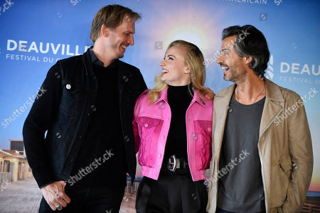 Dutch director Jouri Smit (L), British actress Sophie Turner (C) and US producer David Atrakchi pose at the photocall for 'Heavy' during the 45th Deauville American Film Festival, in Deauville, France, 07 September 2019. The festival runs from 06 to 15 September.