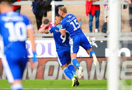 Jonson Clarke-Harris of Bristol Rovers celebrates scoring a goal with Alfie Kilgour of Bristol Rovers