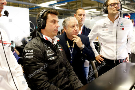 Motorsports: FIA Formula One World Championship 2019, Grand Prix of Italy,  Toto Wolff (AUT, Mercedes AMG Petronas Motorsport), Jean Todt (FRA, FIA President),