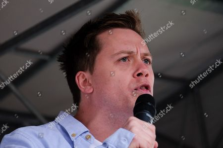 Owen Jones. Protest demanding Boris Johnson's resignation outside Downing Street organised by Another Europe is Possible.