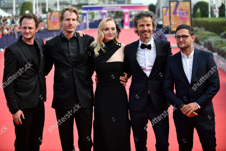 Dutch director Jouri Smit (2-L), British actress Sophie Turner (C) and US producer David Atrakchi (2-R) and guests arrive on the red carpet prior to the premiere of 'Heavy' during the 45th Deauville American Film Festival, in Deauville, France, 07 September 2019. The festival runs from 06 to 15 September.
