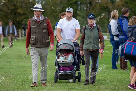 Tim Laurence, Mike Tindall, Lena Elizabeth Tindall and Princess Anne