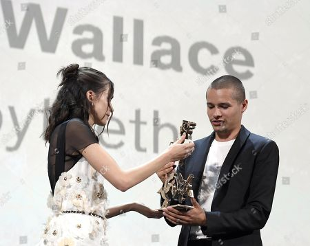 Toby Wallace (L) receives the Marcello Marcello Mastroianni Award for Young Actor for his performance in the movie 'Babyteeth' on stage from French actress and Venezia 76 jury member Stacy Martin during the awarding ceremony of the 76th annual Venice International Film Festival, in Venice, Italy, 07 September 2019. The festival runs from 28 August to 07 September.