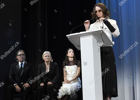 Argentinian film director, screenwriter and festival jury president Lucrecia Martel (R) speaks on stage during the awarding ceremony of the 76th annual Venice International Film Festival, in Venice, Italy, 07 September 2019. The festival runs from 28 August to 07 September.