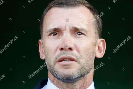 Ukraine's head coach Andriy Shevchenko watches his team as they line up prior the Euro 2020 group B qualifying soccer match between Lithuania and Ukraine at LFF stadium in Vilnius