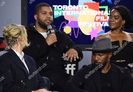 """Brie Larson, Jamie Foxx, O'Shea Jackson Jr., Karan Kendrick. Brie Larson, from front row left, Jamie Foxx, and from back row left, O'Shea Jackson Jr. and Karan Kendrick attend a press conference for """"Just Mercy"""" on day three of the Toronto International Film Festival at the TIFF Bell Lightbox, in Toronto"""