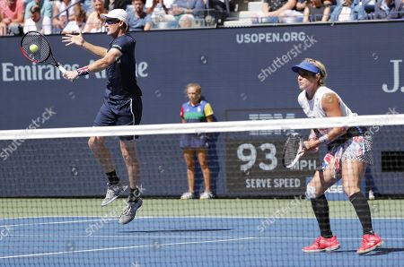 Bathanie Mattek-Sands of the US and Jamie Murray of Great Britain (L) play against Chan Hao-ching of Taiwan and Michael Venus of New Zealand during their mixed doubles final match on the thirteenth day of the US Open Tennis Championships the USTA National Tennis Center in Flushing Meadows, New York, USA, 07 September 2019. The US Open runs from 26 August through 08 September.