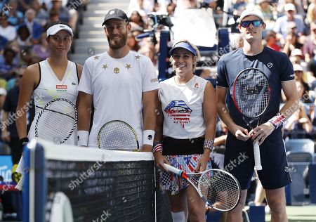 (L-R) Chan Hao-ching of Taiwan and partner Michael Venus of New Zealand with Bethanie Mattek-Sands of the US and partner Jamie Murray of Great Britain pose at the net before their mixed doubles final match on the thirteenth day of the US Open Tennis Championships the USTA National Tennis Center in Flushing Meadows, New York, USA, 07 September 2019. The US Open runs from 26 August through 08 September.