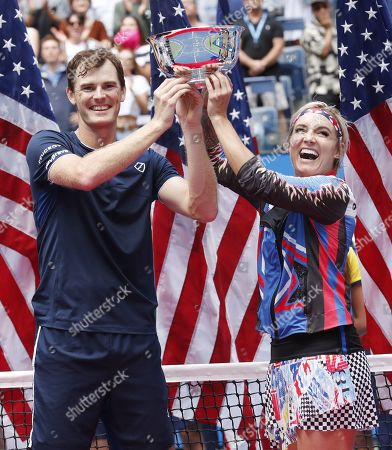 Bethanie Mattek-Sands of the US (R) and Jamie Murray of Great Britain celebrate with the championship trophy after defeating Chan Hao-ching of Taiwan and Michael Venus of New Zealand in the mixed doubles final match on the thirteenth day of the US Open Tennis Championships the USTA National Tennis Center in Flushing Meadows, New York, USA, 07 September 2019. The US Open runs from 26 August through 08 September.