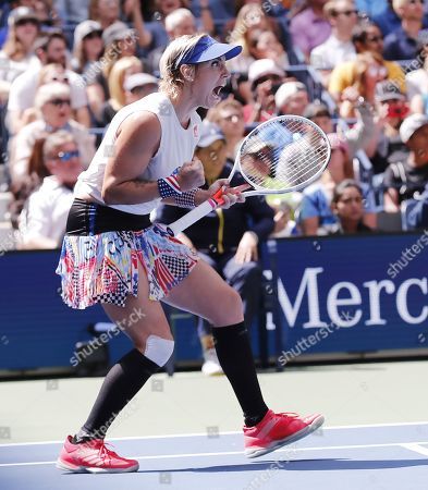 Bethanie Mattek-Sands of the US (L) celebrates after she and partner Jamie Murray of Great Britain defeated Chan Hao-ching of Taiwan and Michael Venus of New Zealand in the mixed doubles final match on the thirteenth day of the US Open Tennis Championships the USTA National Tennis Center in Flushing Meadows, New York, USA, 07 September 2019. The US Open runs from 26 August through 08 September.