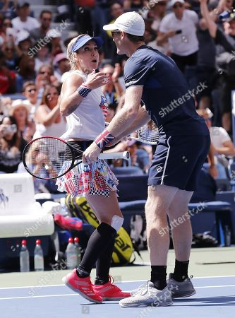 Bethanie Mattek-Sands of the US (L) and Jamie Murray of Great Britain celebrate after defeating Chan Hao-ching of Taiwan and Michael Venus of New Zealand in the mixed doubles final match on the thirteenth day of the US Open Tennis Championships the USTA National Tennis Center in Flushing Meadows, New York, USA, 07 September 2019. The US Open runs from 26 August through 08 September.