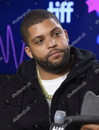 """O'Shea Jackson Jr. attends a press conference for """"Just Mercy"""" on day three of the Toronto International Film Festival at the TIFF Bell Lightbox, in Toronto"""