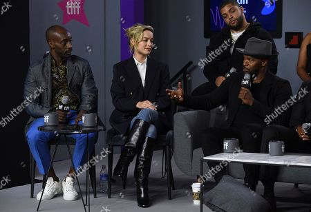 """Rob Morgan, Brie Larson, Jamie Foxx, O'Shea Jackson Jr. Rob Morgan, from front row left, Brie Larson, Jamie Foxx, and in back row, O'Shea Jackson Jr. attend a press conference for """"Just Mercy"""" on day three of the Toronto International Film Festival at the TIFF Bell Lightbox, in Toronto"""