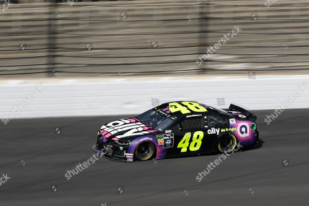 Monster Energy NASCAR Cup Series driver Jimmie Johnson drives into turn one during practice for the NASCAR Brickyard 400 auto race at the Indianapolis Motor Speedway, in Indianapolis