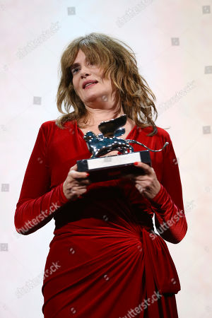 Emmanuelle Seigner holds the Silver Lion Grand Jury Prize for the film 'An Officer and a Spy' on behalf of her husband Roman Polanski at the closing ceremony of the 76th edition of the Venice Film Festival, Venice, Italy