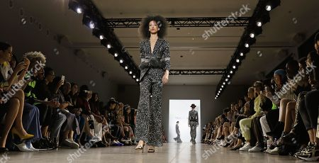 Stock Image of A model presents a creation by Chinese designer Taoray Wang during New York Fashion Week in New York, New York, USA, 07 September February 2019. New York Fashion Week for designer's Spring and Summer lines are being held from 05 to 11 September 2019.