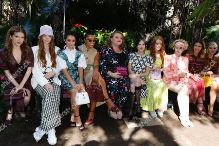Stock Image of Anna Kendrick, Larsen Thompson, Salena Qureshi, Hannah Bronfman, Danielle Macdonald, Emma Roberts, Sadie Sink, Julia Garner, Katherine Schwarzenegger and Julia Schlaepfer in the front row