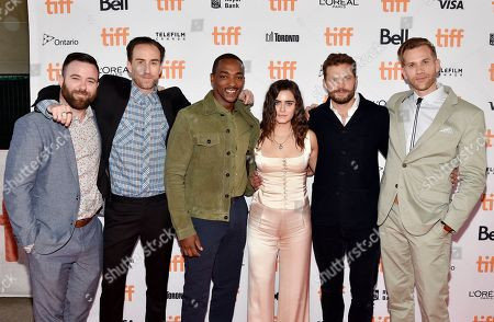 Stock Photo of David Lawson, Justin Benson, Anthony Mackie, Ally Ioannides, Jamie Dornan, and Aaron Moorhead
