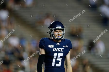 Rice defensive back Andrew Bird (15) lines up between plays during an NCAA football game on in Houston