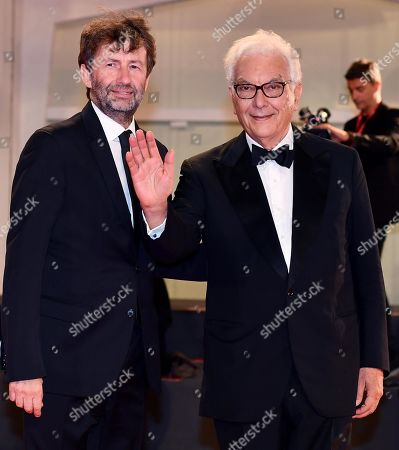 Stock Image of Italian Culture Minister Dario Franceschini (L) and Venice Biennale President Paolo Baratta arrive for the premiere of 'The Burnt Orange Heresy' during the 76th annual Venice International Film Festival, in Venice, Italy, 07 September 2019. The movie is presented out of competiton at the festival running from 28 August to 07 September.