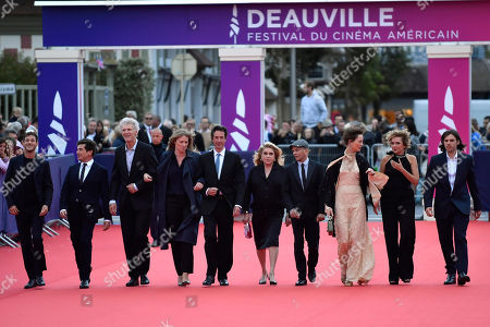 The members of Jury , French actor Gaspard Ulliel, French director Nicolas Saada, French sound engineer Jean Pierre Duret, French director Claire Burger, French Scriptwriter Antonin Baudry, French actress Catherine Deneuve, French director Gael Morel, Luxembourgian actress Vicky Krieps, Italian actress Valeria Golino and French musician Orelsan arrive on the red carpet prior to the premiere 'Music of My Life (Blinded by the Light)' during the 45th Deauville American Film Festival, in Deauville, France, 07 September 2019. The festival runs from 06 to 15 September.
