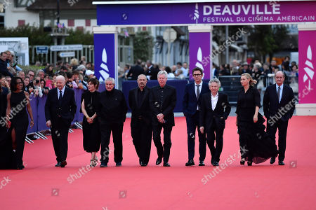 French journalist Audrey Pulvar, French director Jean Paul Rappeneau, French director Valerie Donzelli, French director Claude Lelouch, French director Jean Pierre Jeunet, French director Regis Wargnier, French director Michel Hazanavicius, Polish-French director Roman Polanski, French actress Emmanuelle Beart and French journalist Pierre Lescure arrive on the red carpet prior to the premiere 'Music of My Life (Blinded by the Light)' during the 45th Deauville American Film Festival, in Deauville, France, 07 September 2019. The festival runs from 06 to 15 September.