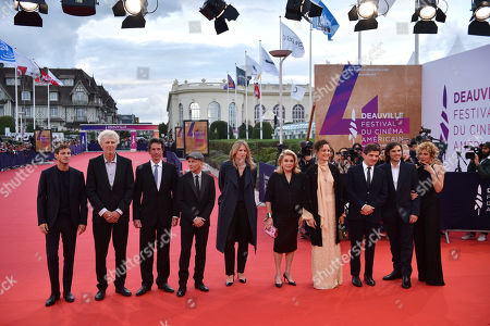 The members of Jury , French actor Gaspard Ulliel, French scriptwriter Antonin Baudry, French sound engineer Jean Pierre Duret, French director Gael Morel, French director Claire Burger, French actress Catherine Deneuve, Luxembourgian actress Vicky Krieps, French director Nicolas Saada, French musician Orelsan and Italian actress Valeria Golino arrive on the red carpet prior to the premiere 'Music of My Life (Blinded by the Light)' during the 45th Deauville American Film Festival, in Deauville, France, 07 September 2019. The festival runs from 06 to 15 September.